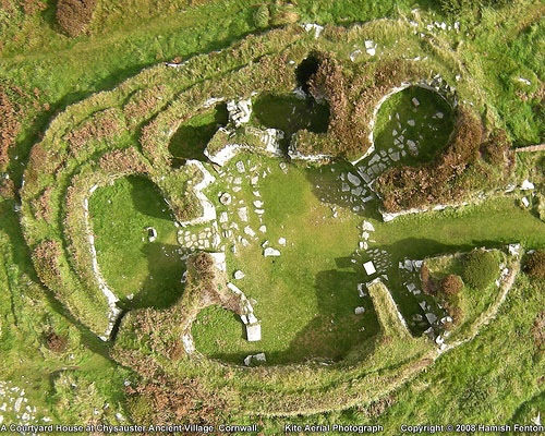 Roman-British Iron Age Courtyard House, Chysauster House, Cornwall England